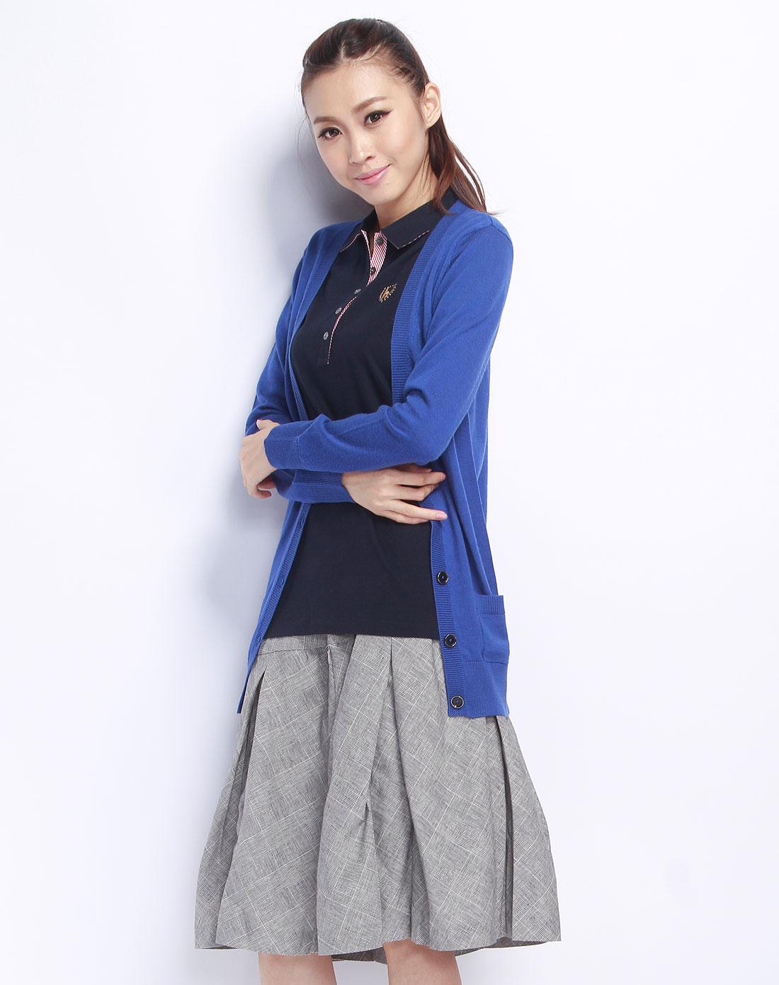 hazzys-女装深蓝色长袖长款针织衫