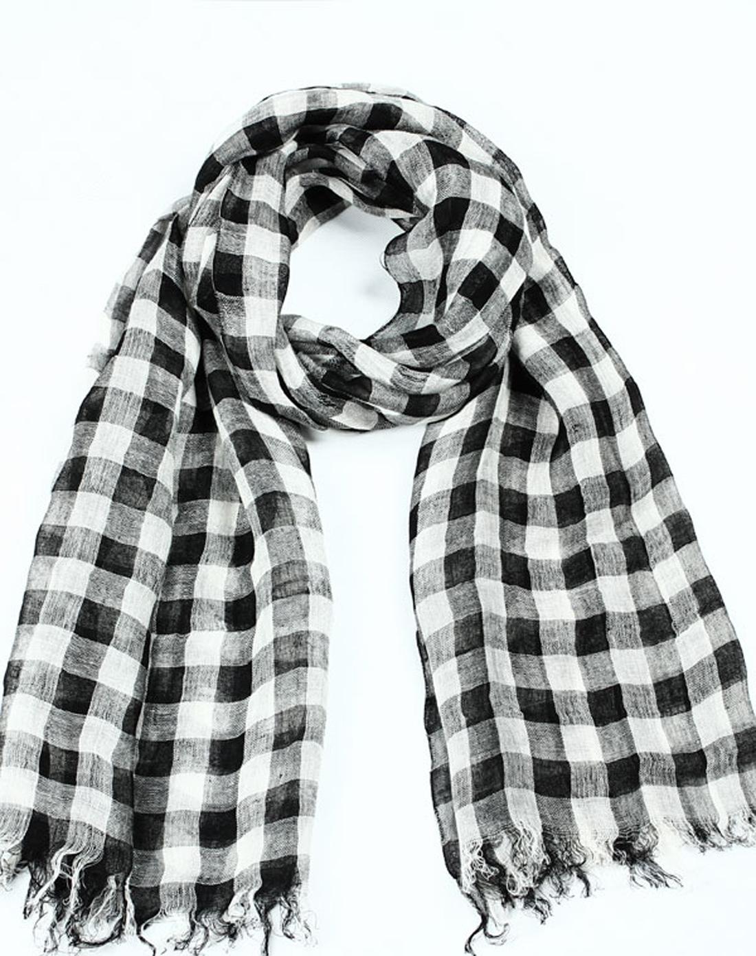 女式格子丝巾 黑白色