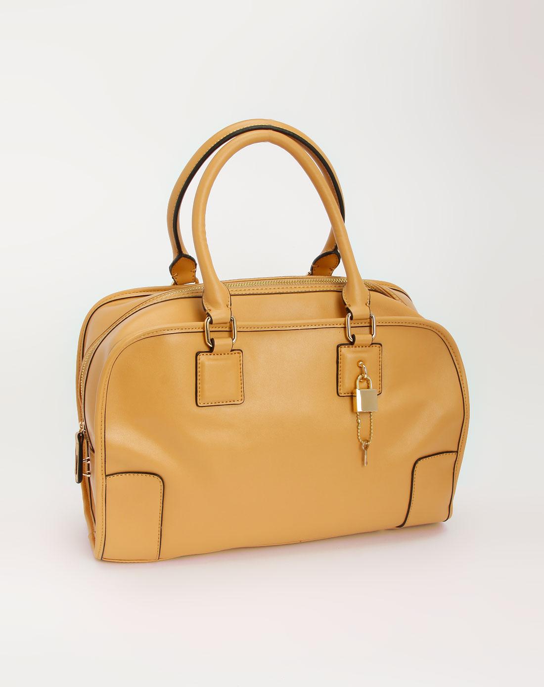 杏色磨砂面休闲手提包