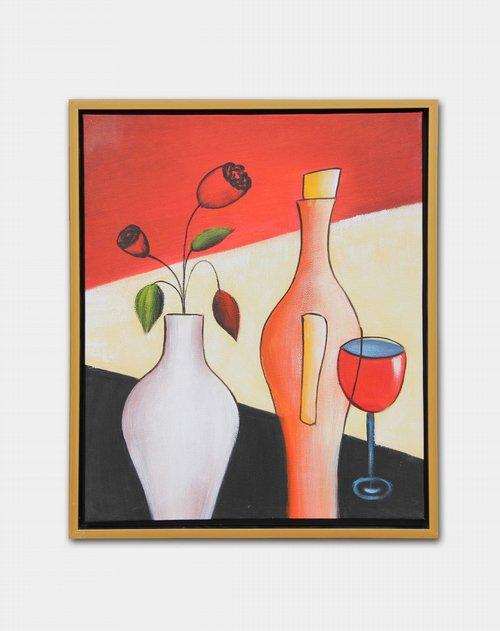 《玫瑰瓶花》纯手绘油画