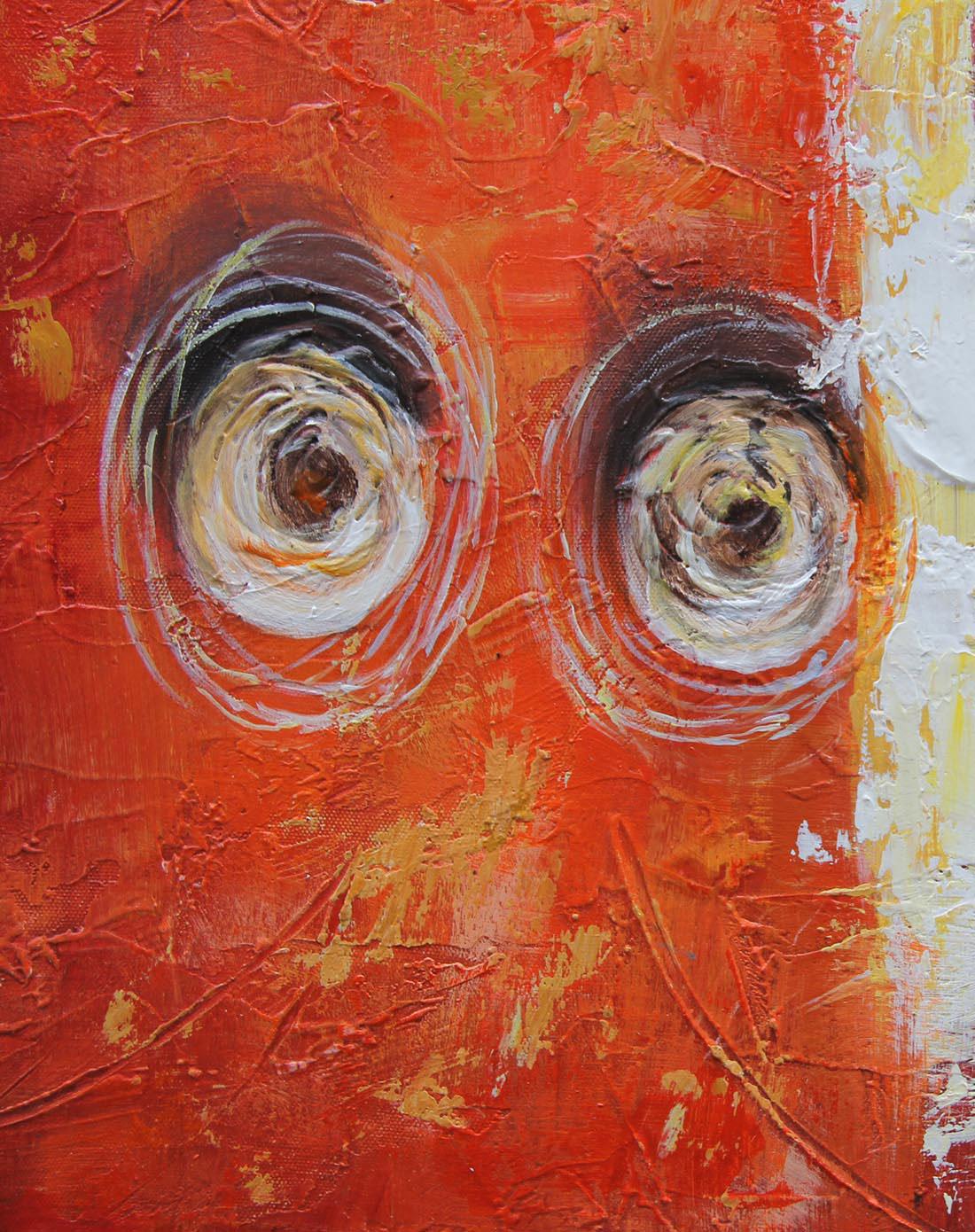 抽象派纯手绘内框油画-《旧模样》