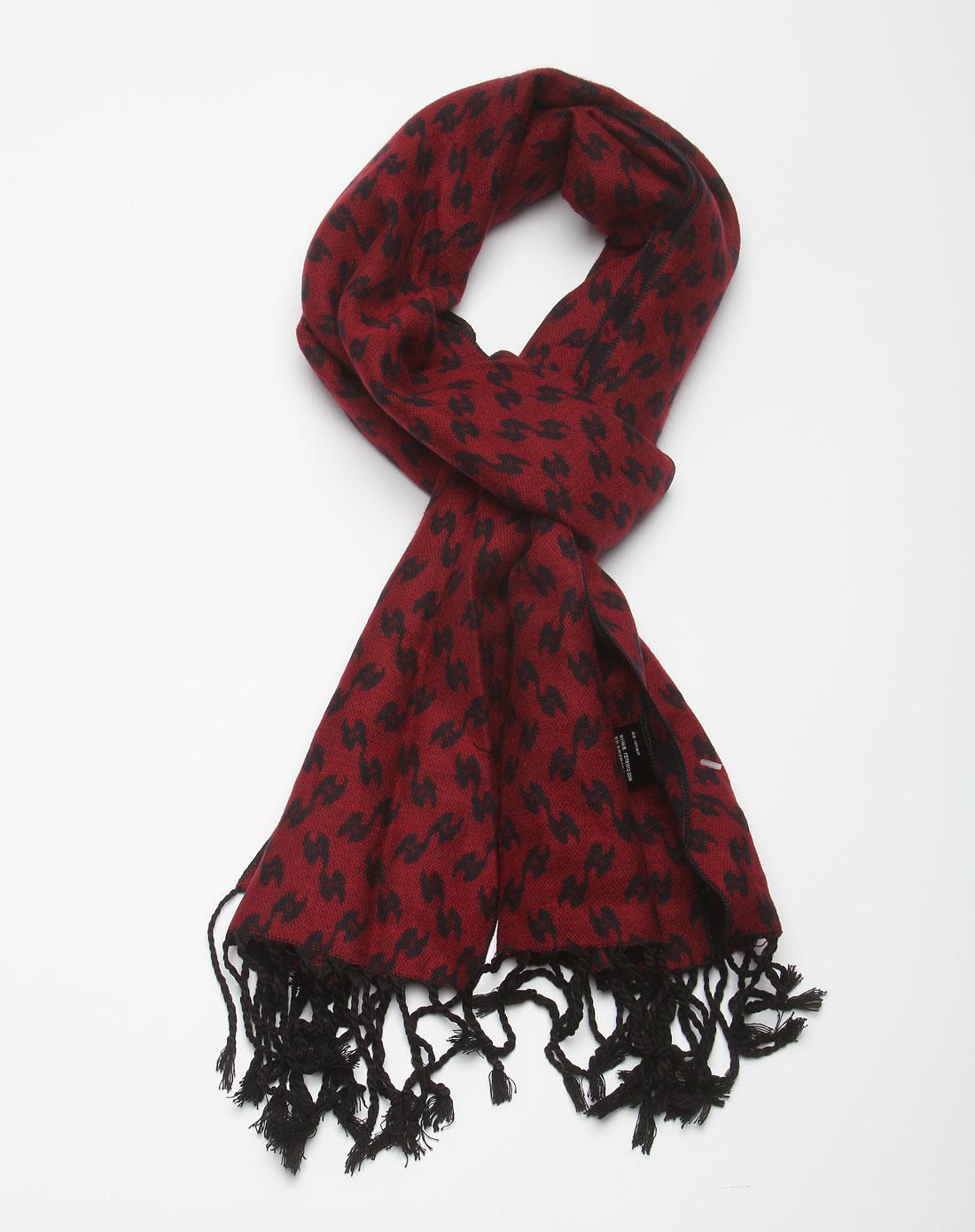 蒙特伦斯枣红色时尚个性花纹围巾257721073