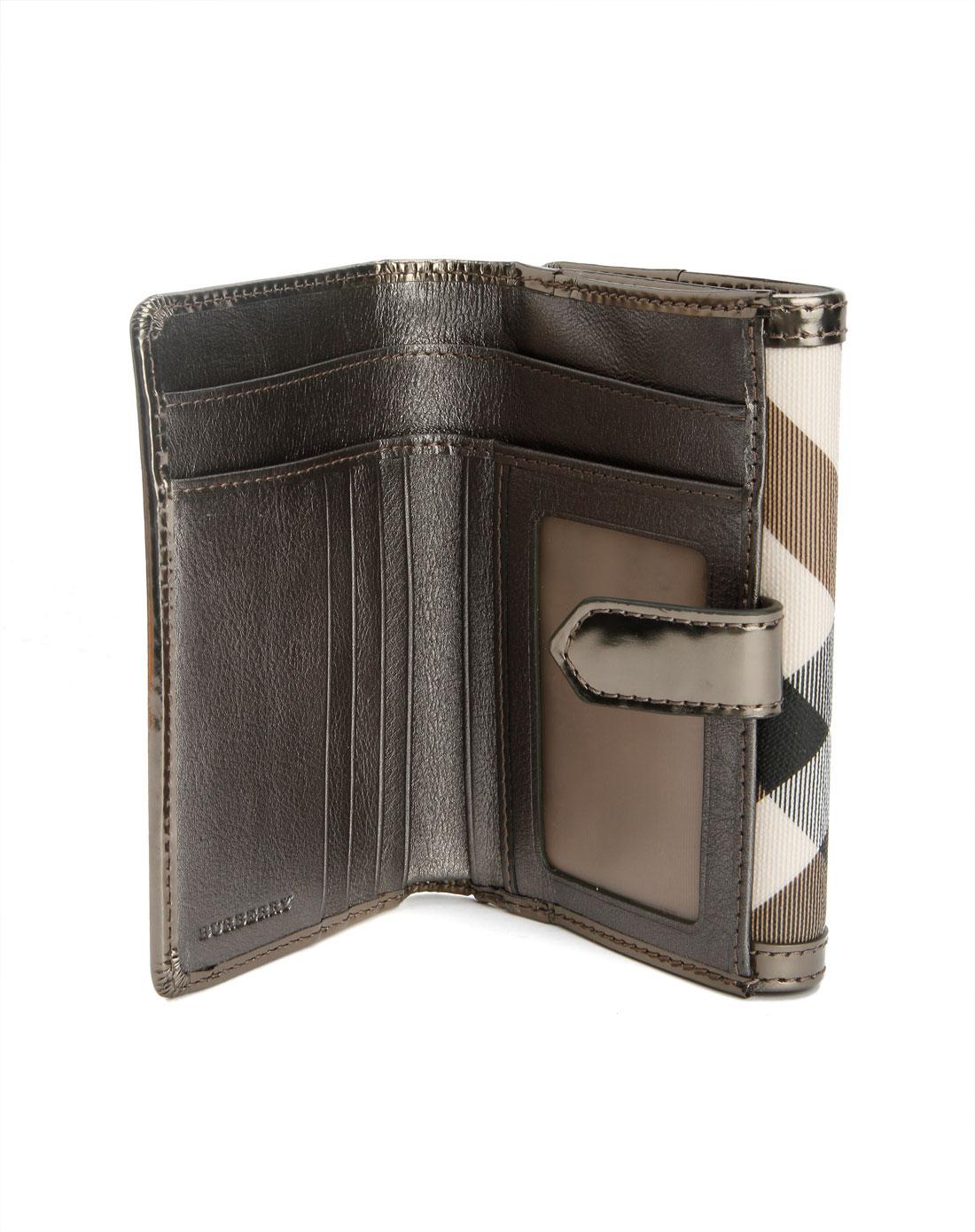 burberry配件专场女款银灰色格子时尚钱包04a510a10