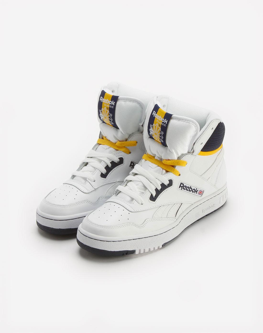 白/海军蓝/黄色高帮休闲篮球鞋