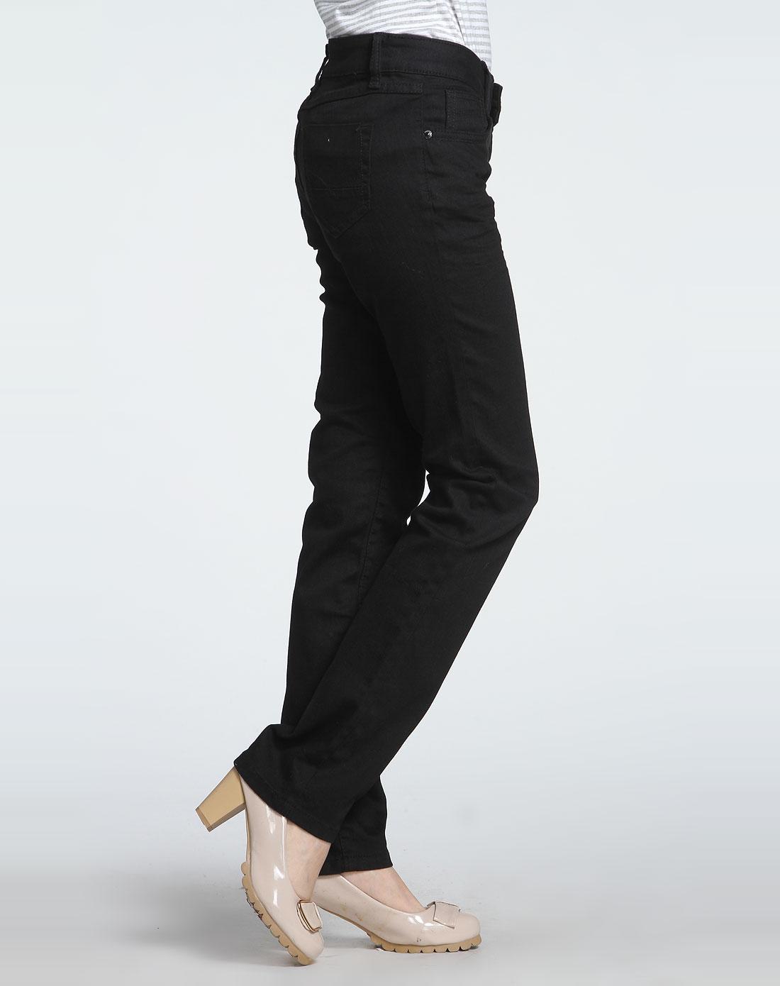 森马女款中低腰合体小直筒黑色牛仔长裤10243112005