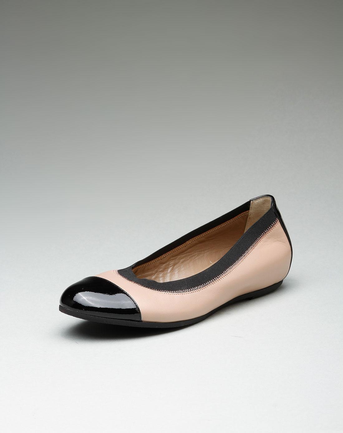 女款知性独特拼色牛皮平底鞋裸粉/黑色