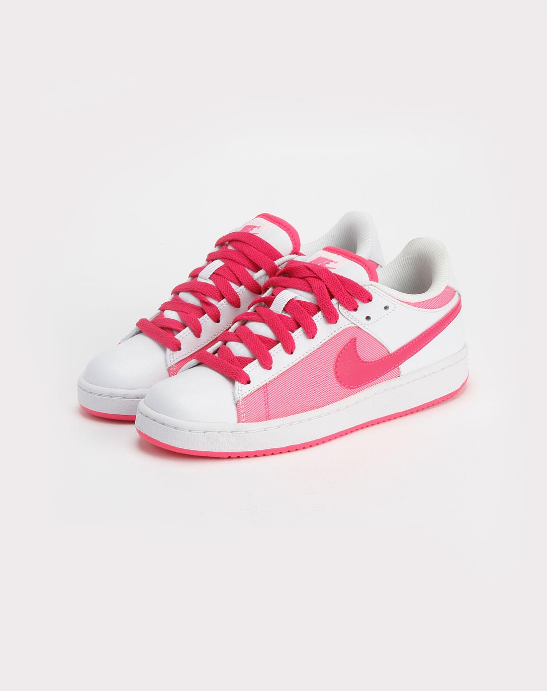 耐克nike-白/粉红色时尚系带板鞋