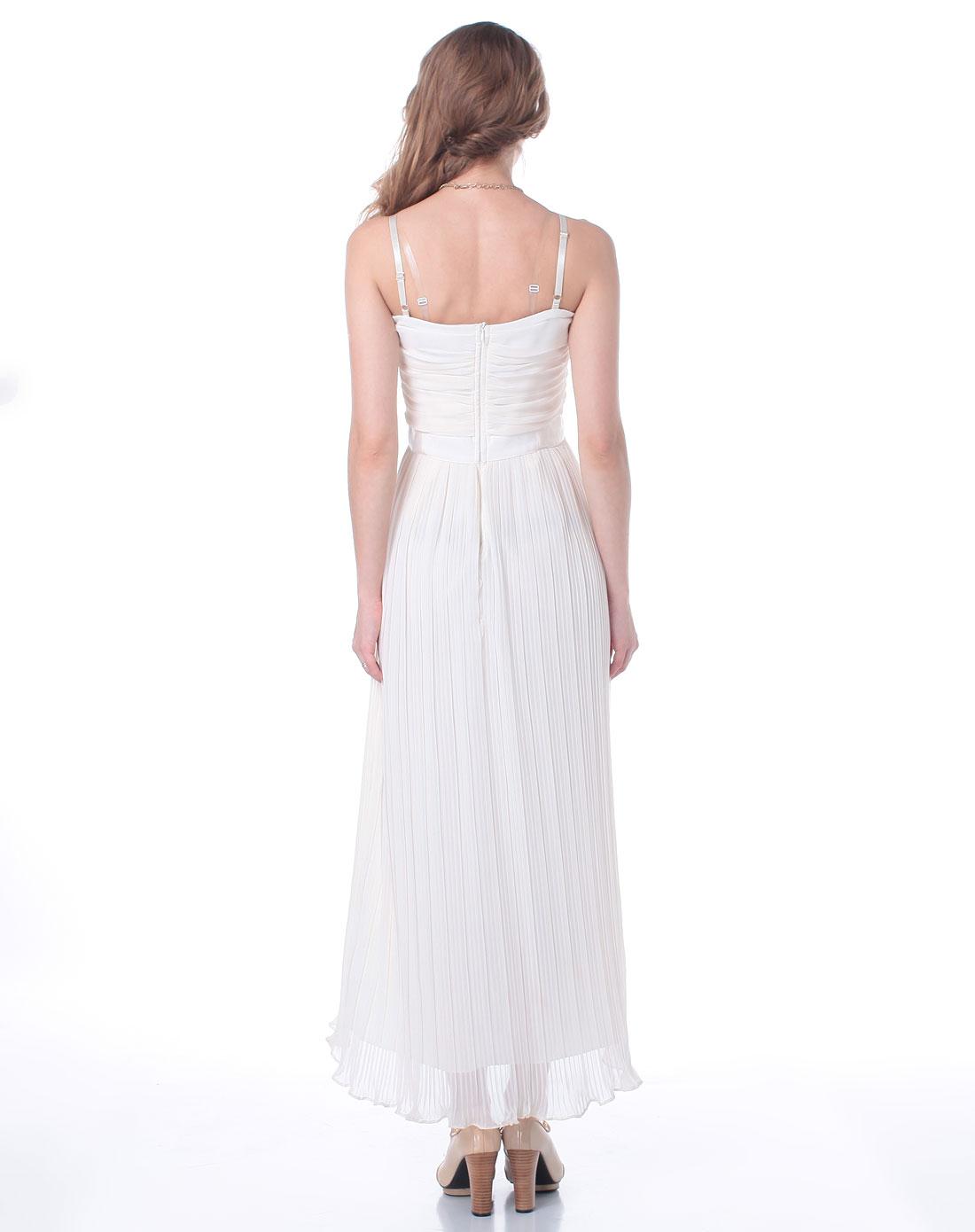 [ 飘蕾 ] 米白色百褶吊带连衣裙