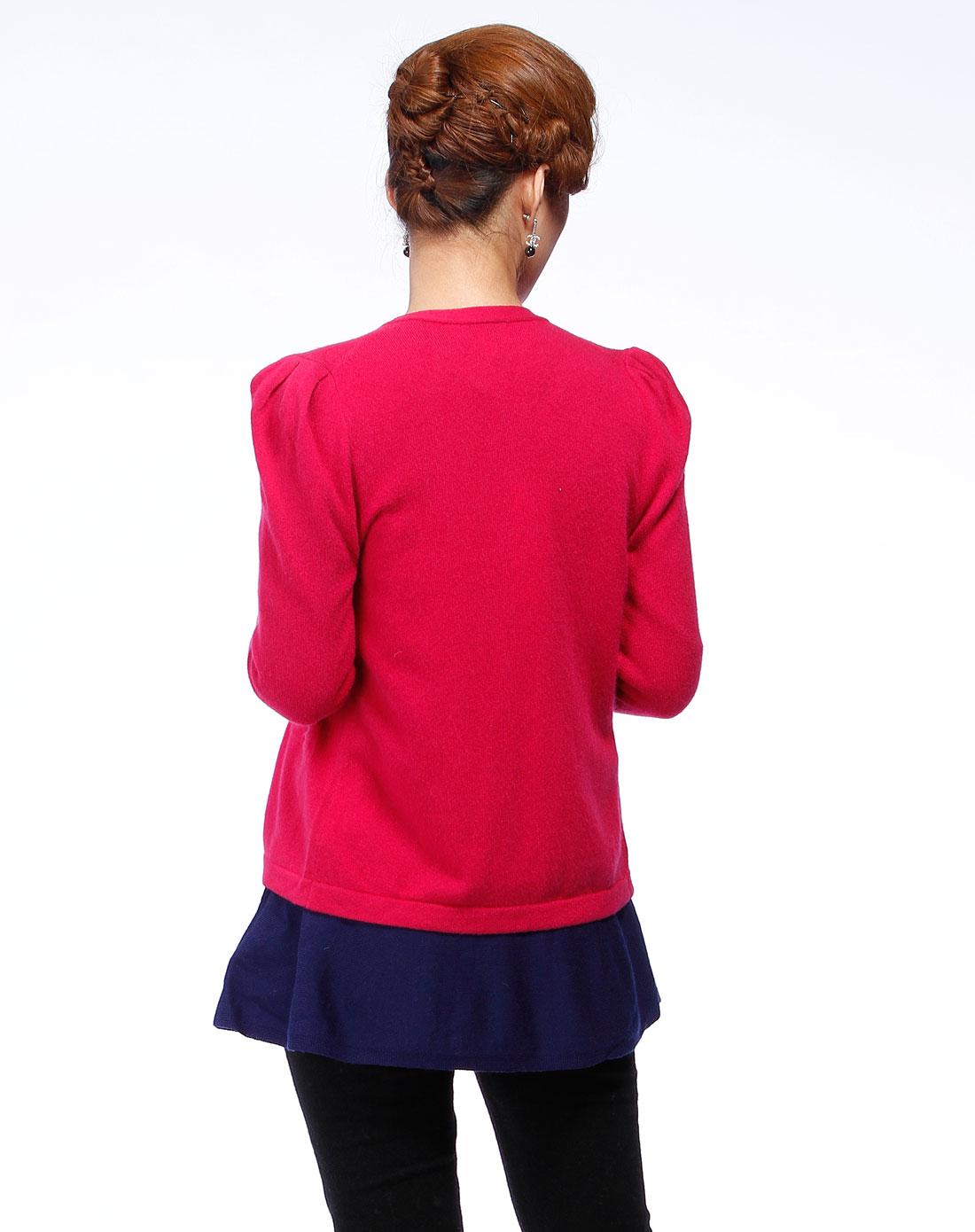 玫红色开襟时尚长袖针织衫