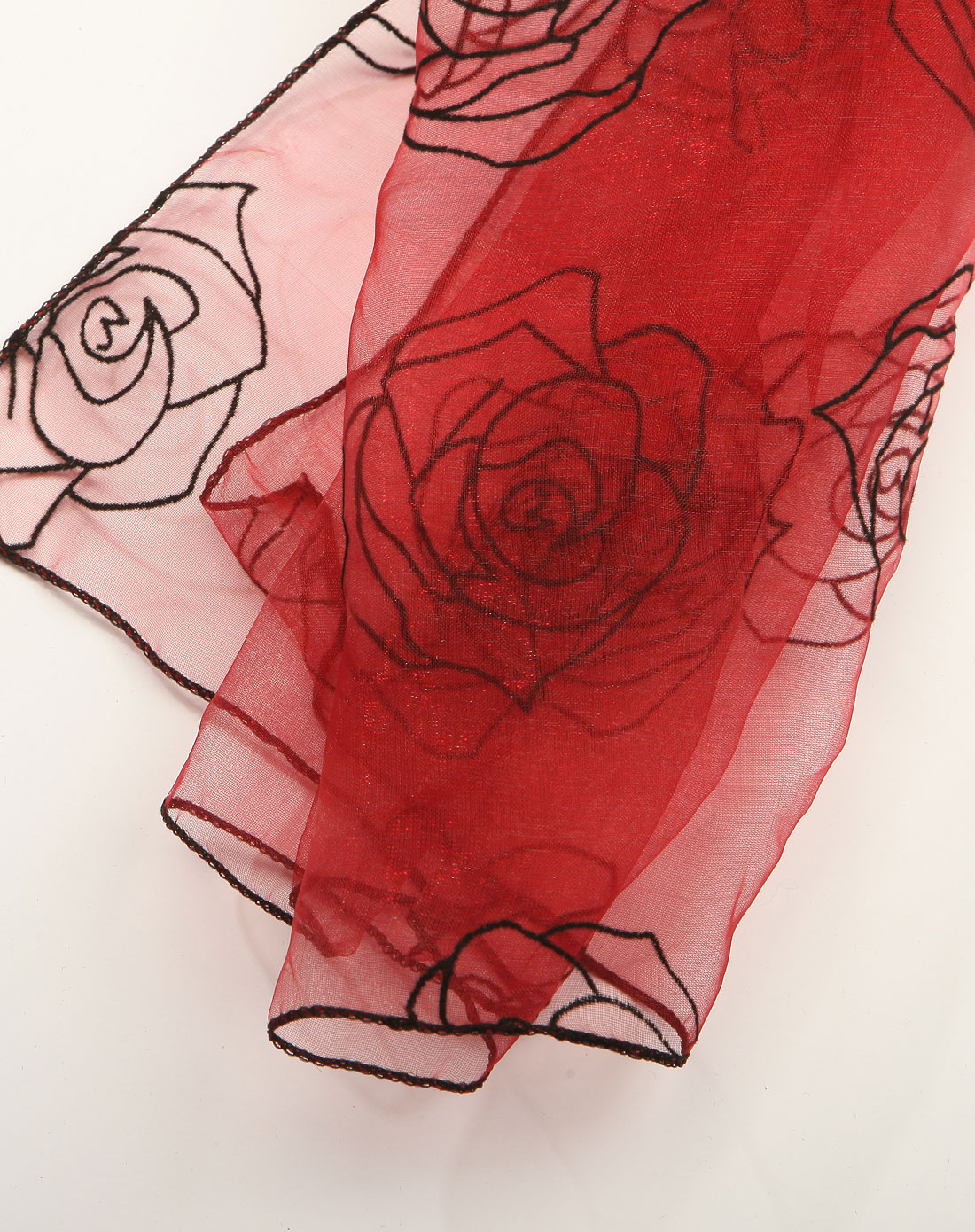 绛红色立体植绒玫瑰花围巾
