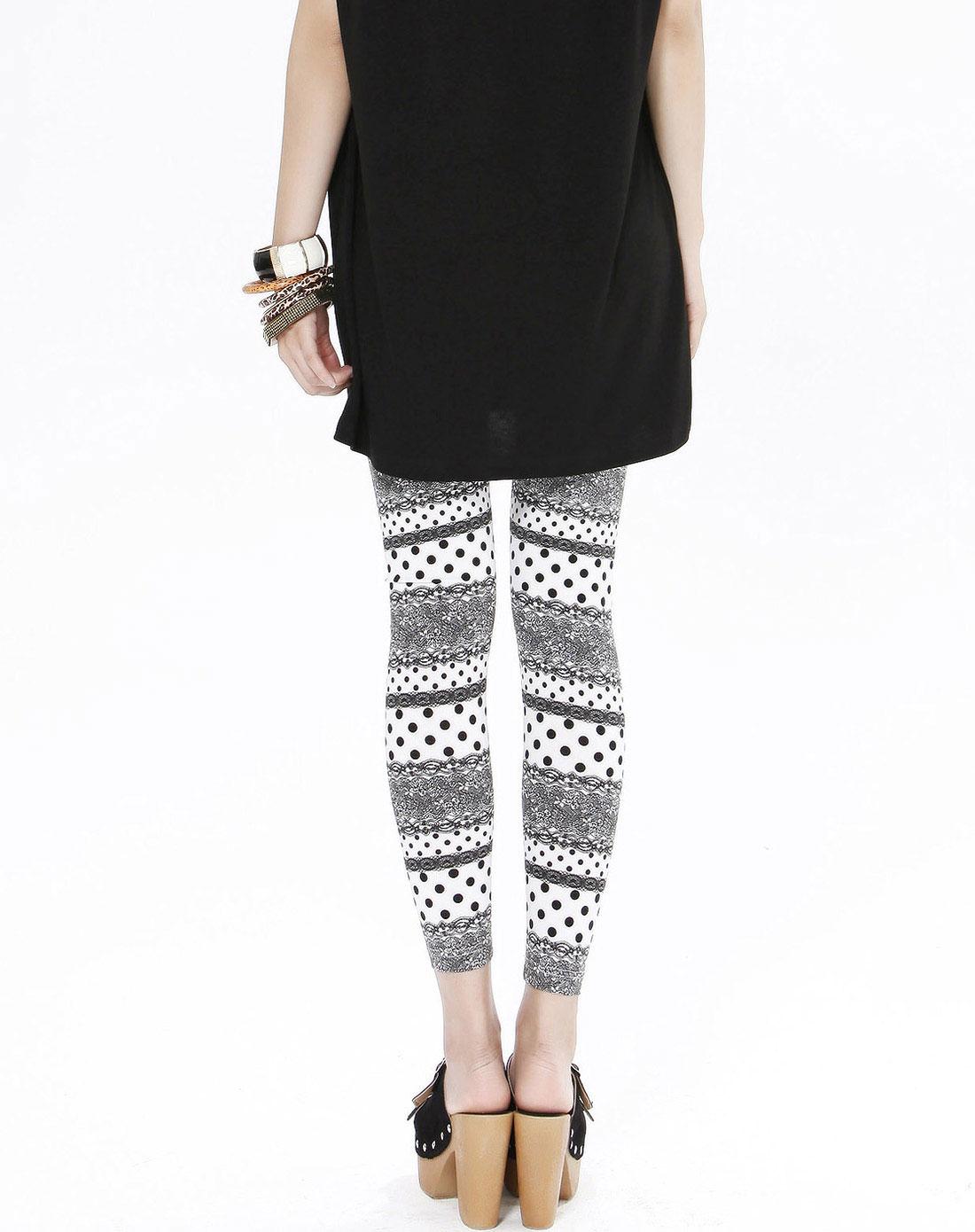 color女黑白花纹黑白花纹打底裤t1k39909