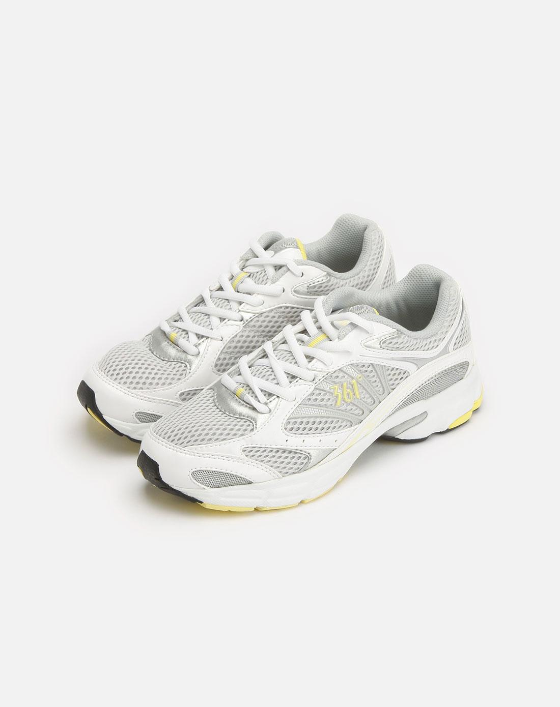 361°浅灰/黄色透气跑鞋