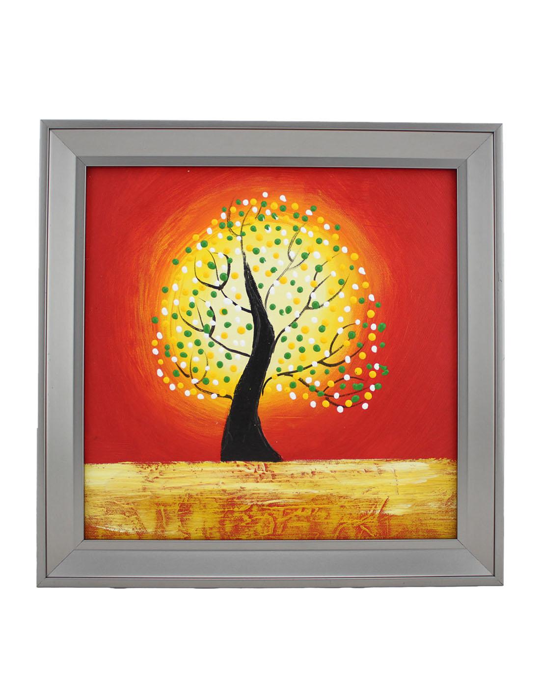 手绘油画-发财树