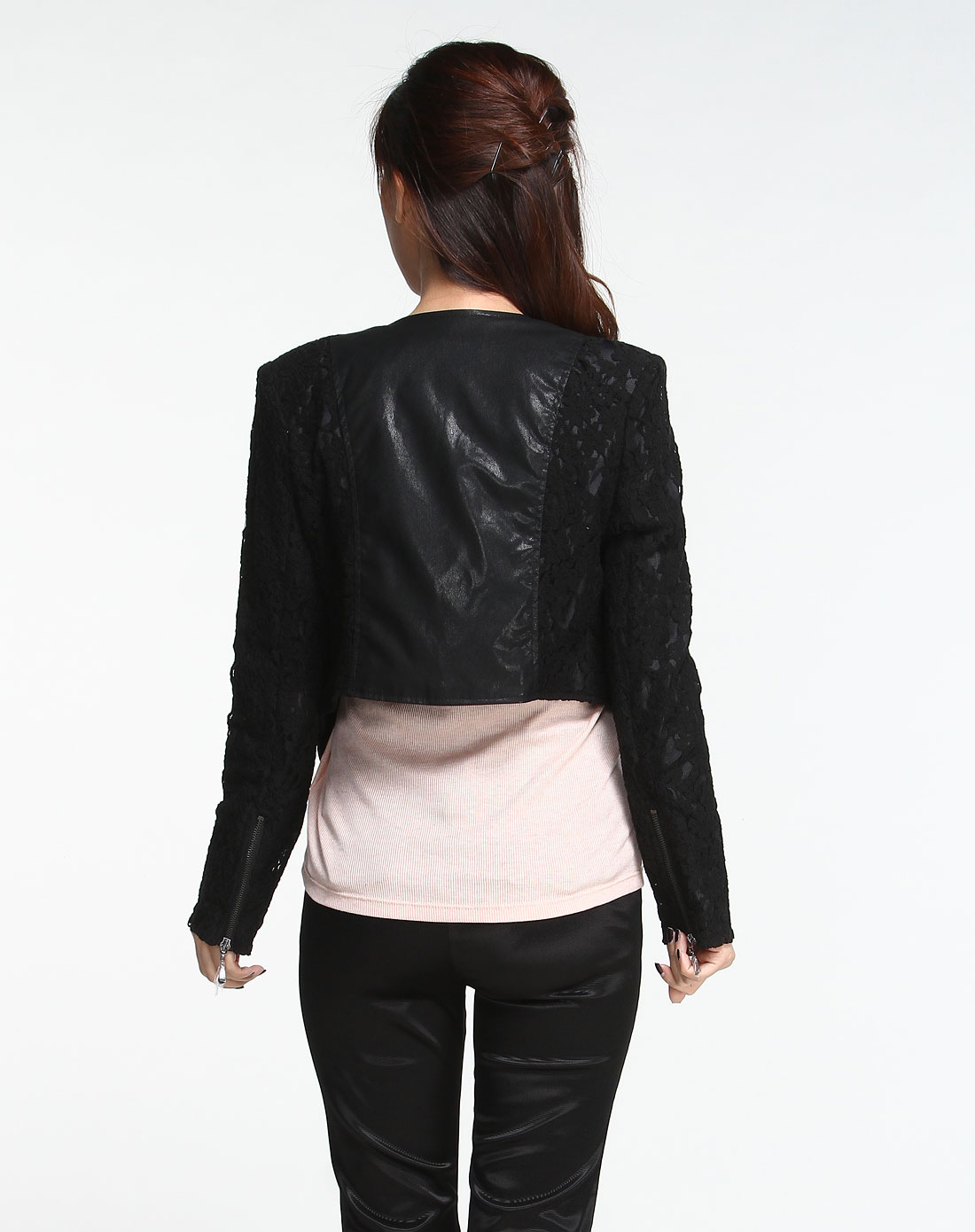 en黑色蕾丝花纹长袖外套0111b150109