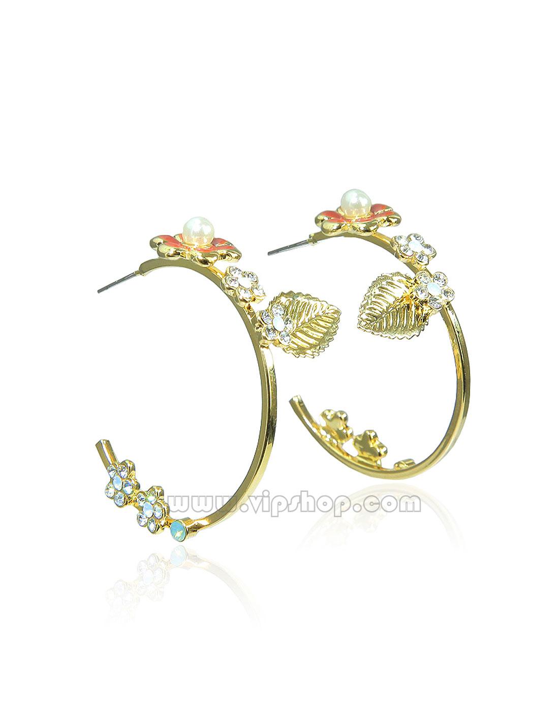 love soni 女款水晶花瓣叶子珍珠装饰环形18k包金耳环
