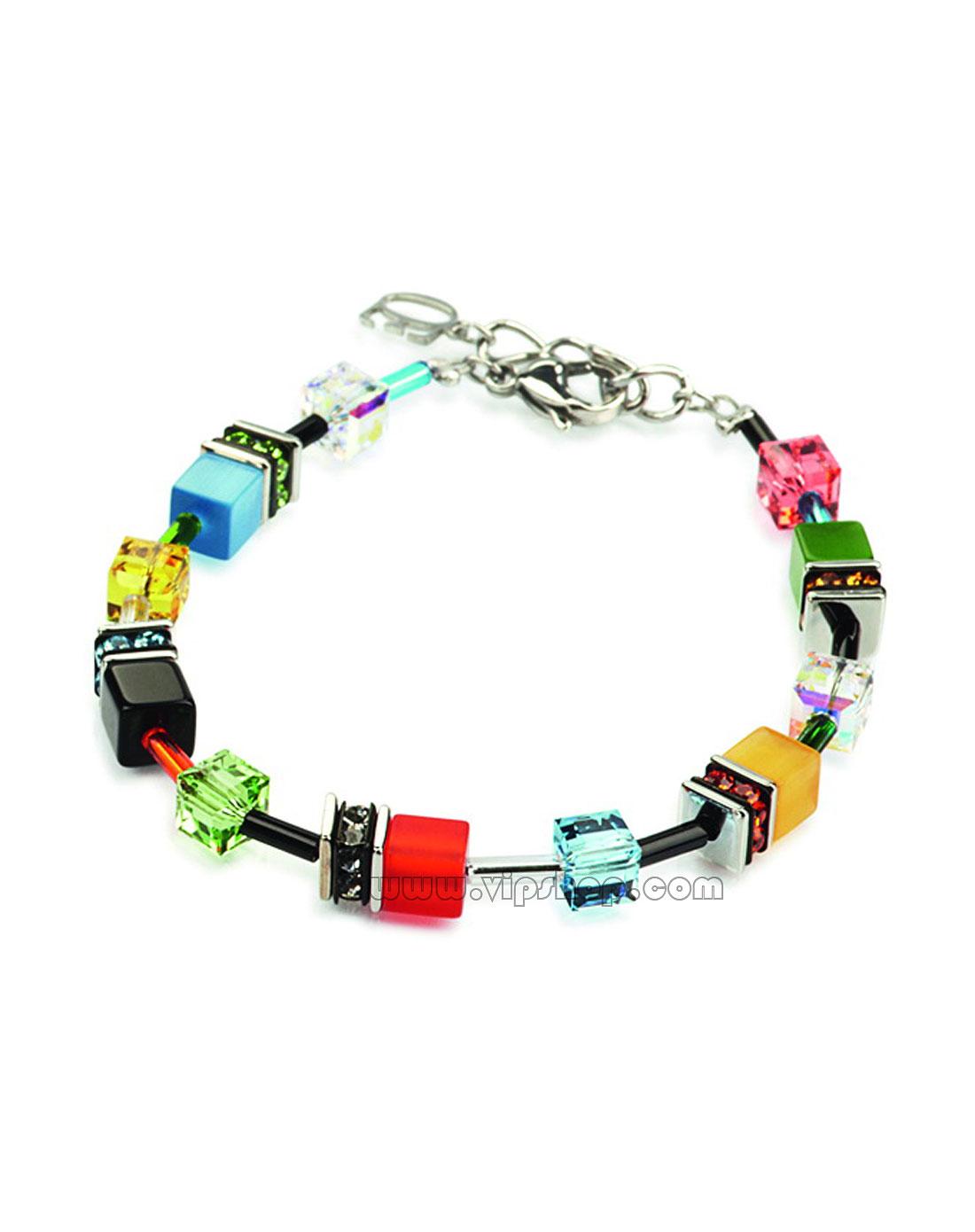 手工制作暖色系方形彩色亚克力/猫眼石/施华洛世奇水晶串珠款手链