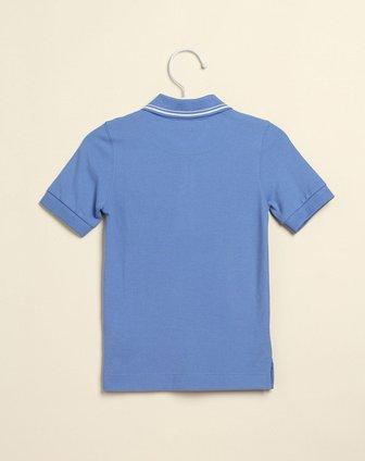 男童针织小logo蓝色短袖polo衫