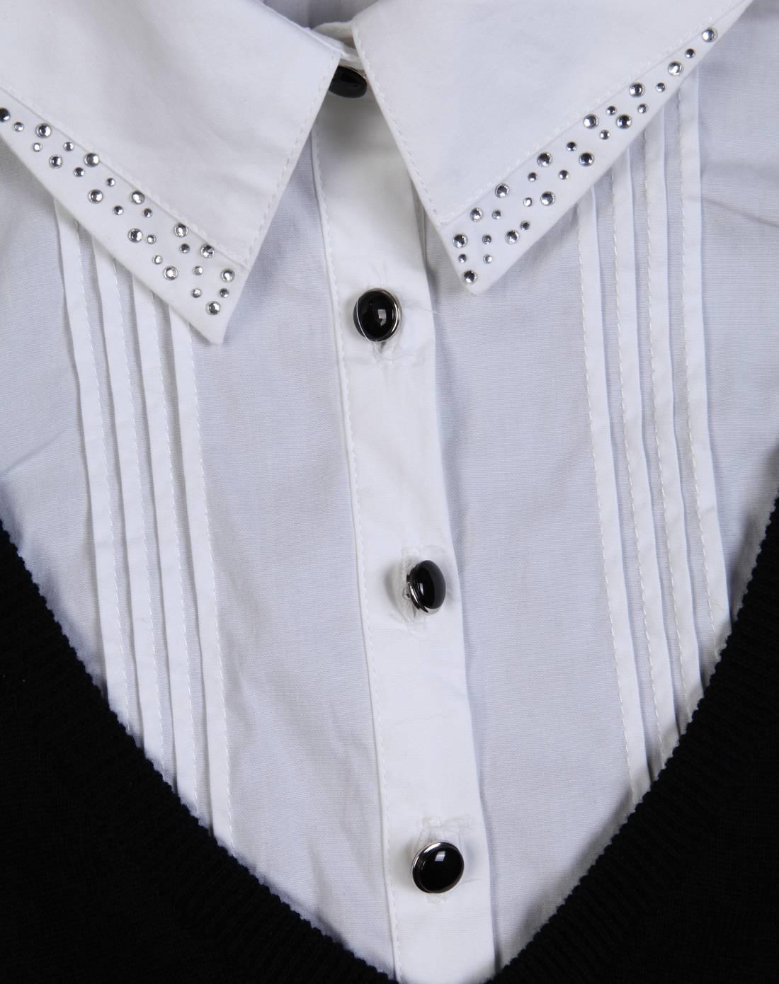 黑色假两件针织衫