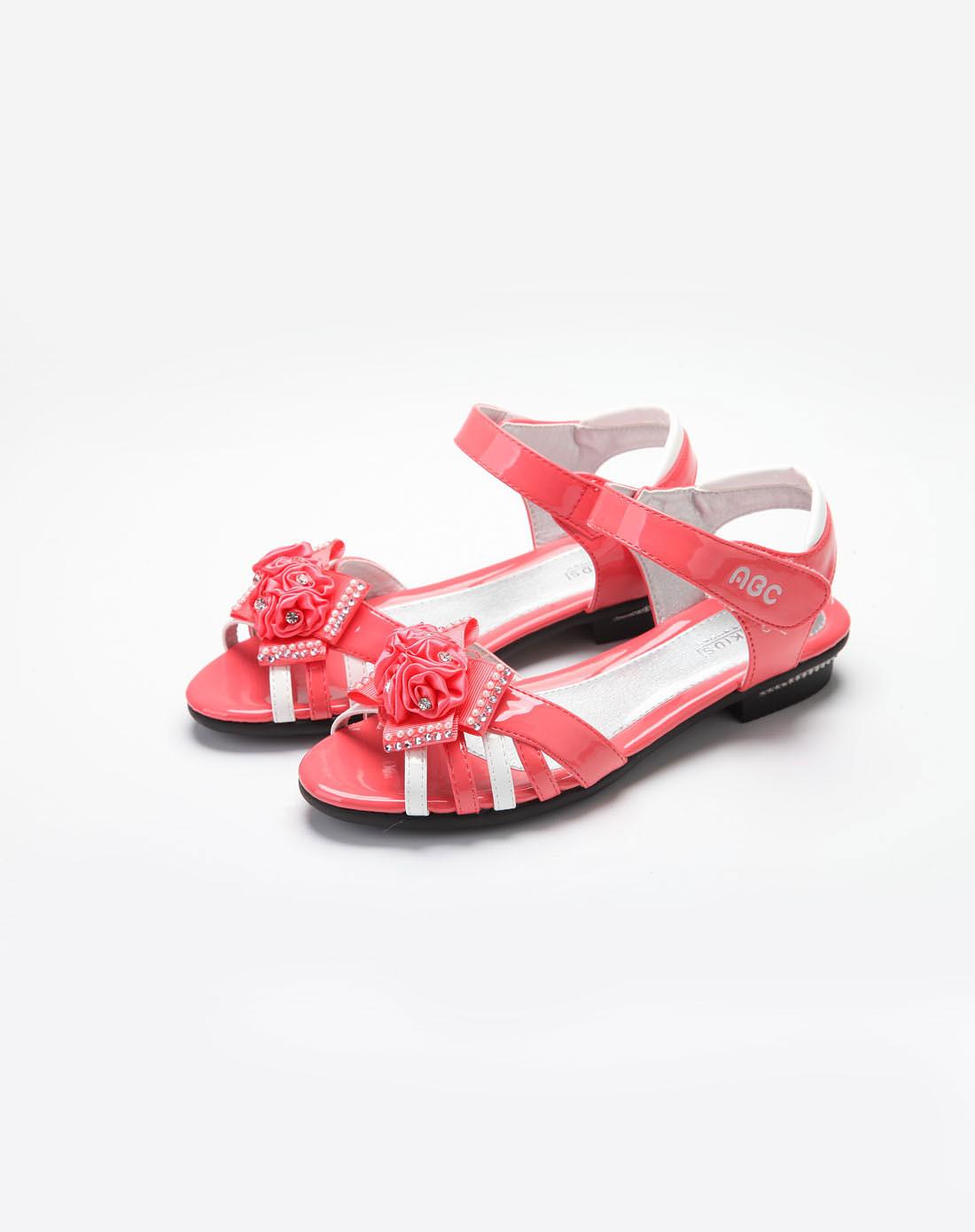 女中童西瓜红皮凉皮鞋