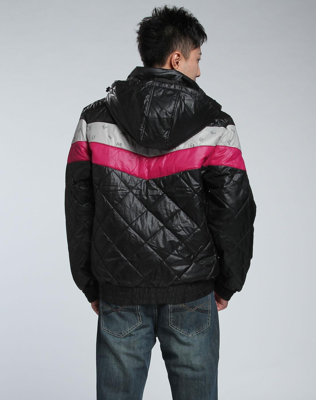 森马-男装男款黑色棉服图片