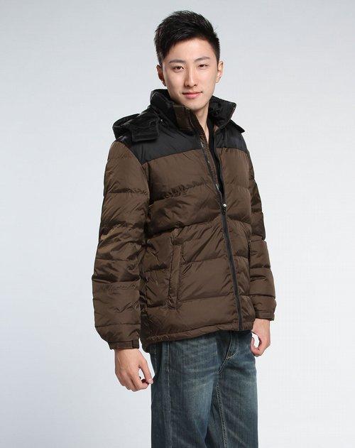 森马-男装男款褐灰羽绒服图片