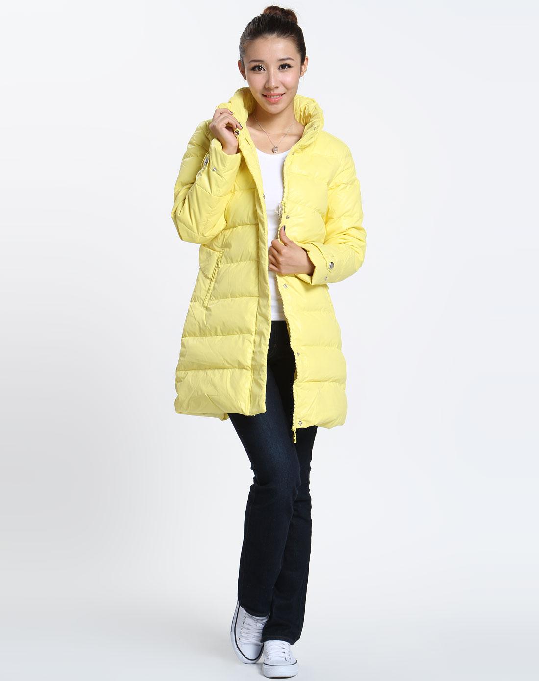 男女装混合库存专场-森马 女款淡黄色时尚长袖羽绒服图片