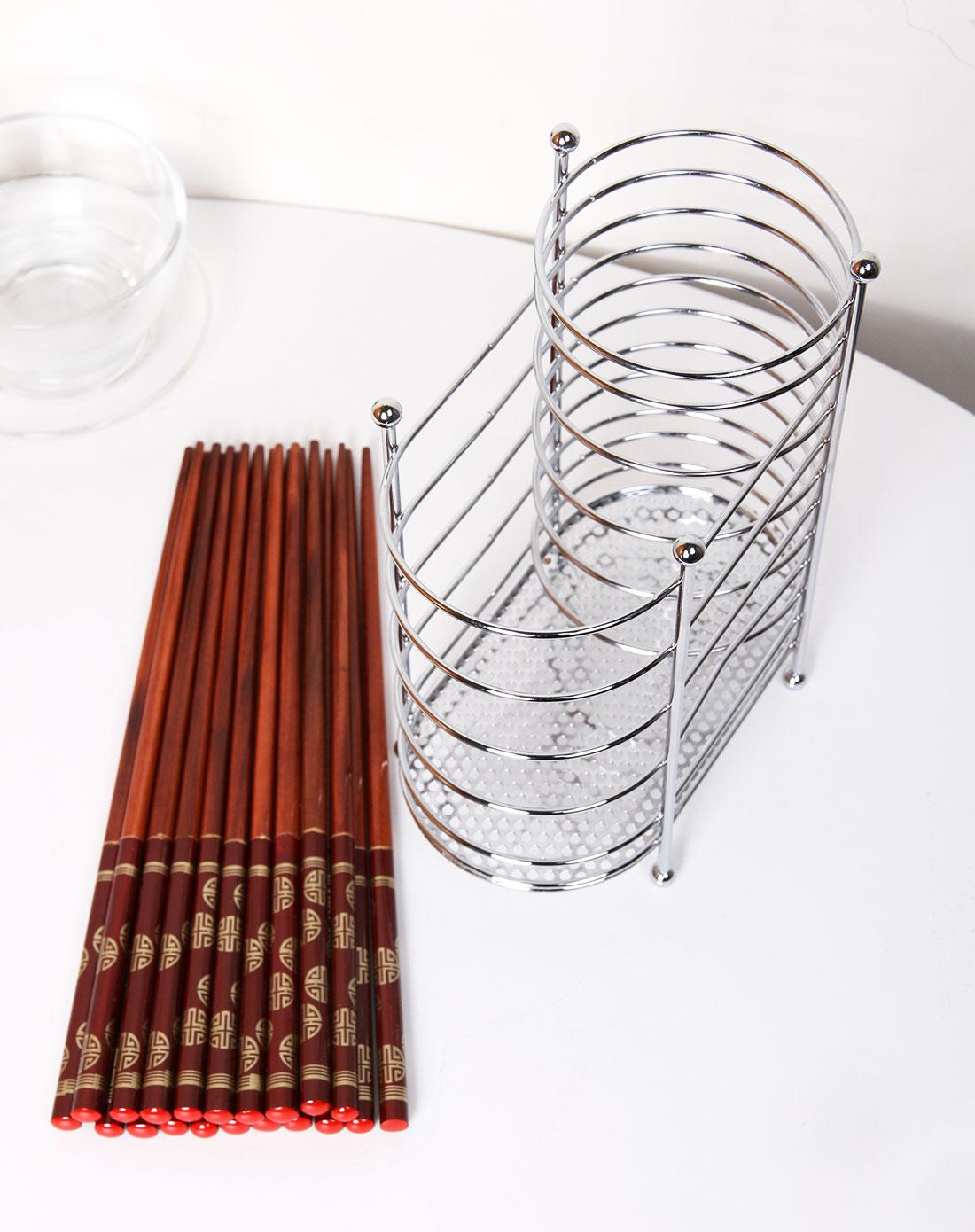 福临门实木筷10入红色 银色金属筷筒