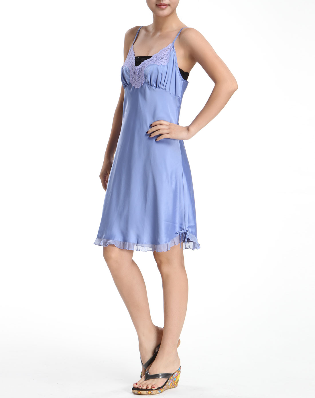 蓝色吊带连衣裙3166