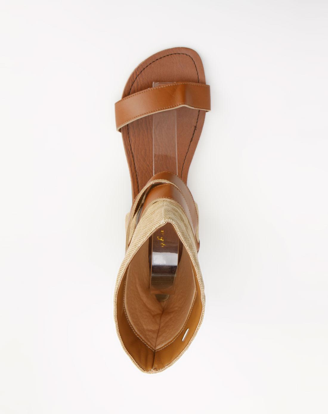 女款棕/卡其色高筒凉鞋
