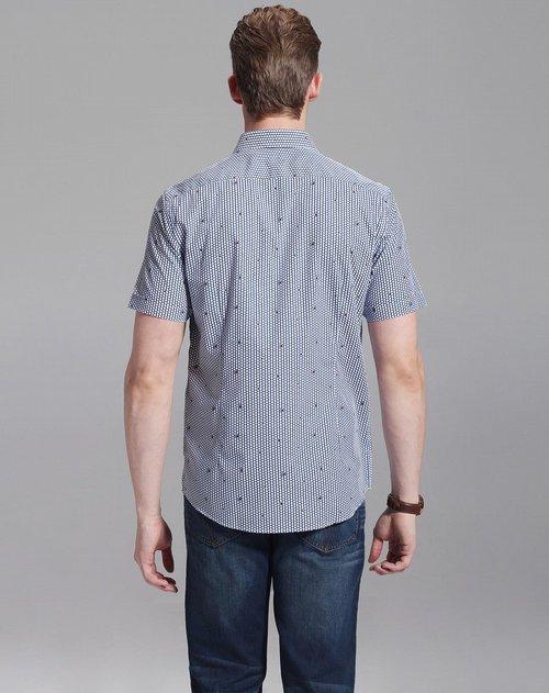艾里托 纯棉休闲蓝底花纹短袖衬衫