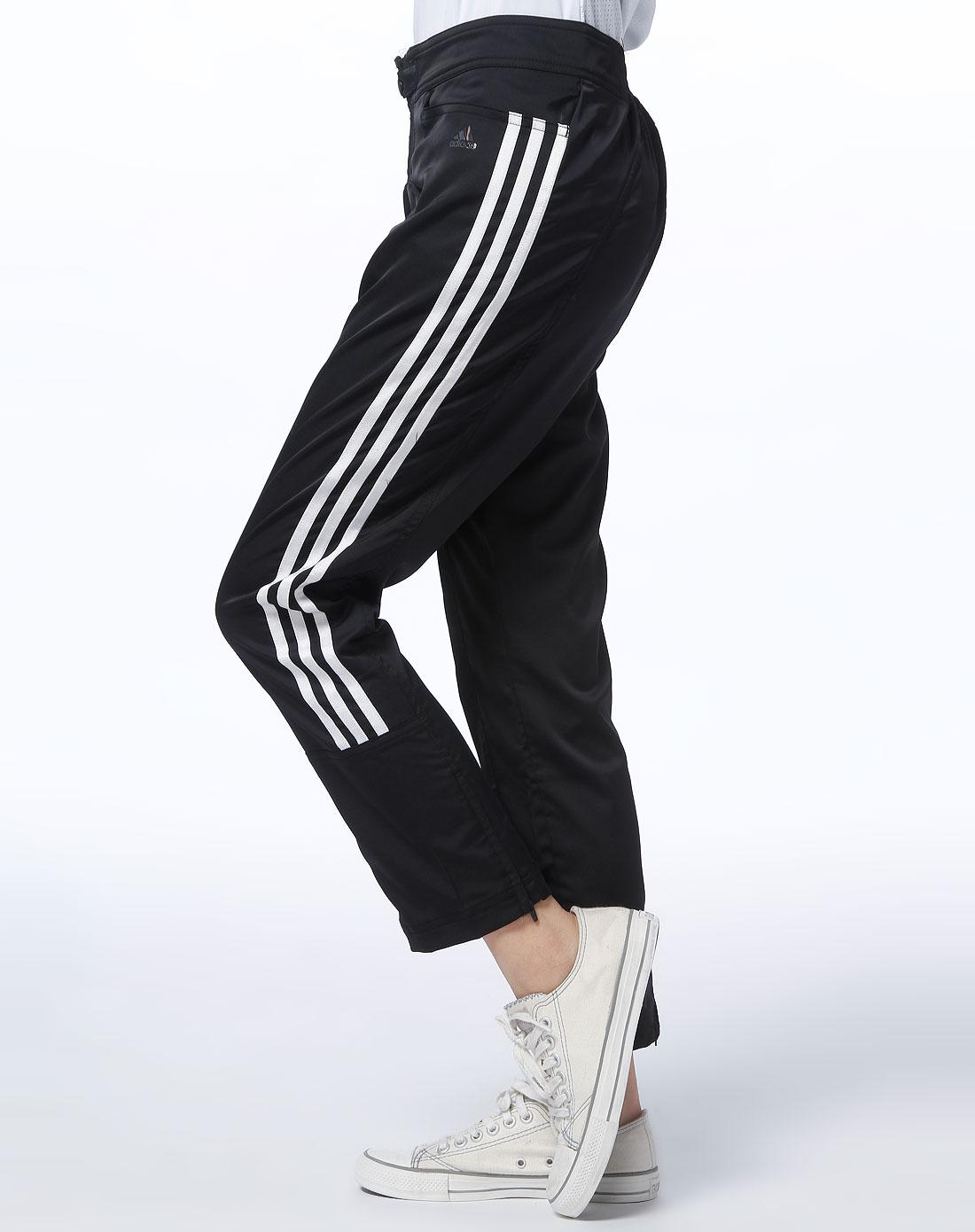 阿迪达斯adidas女款黑色九分裤