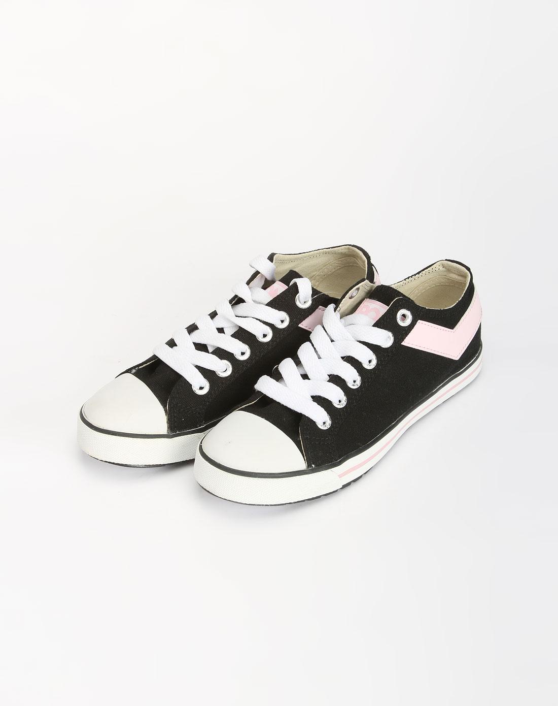女款黑色/粉红色系带帆布鞋