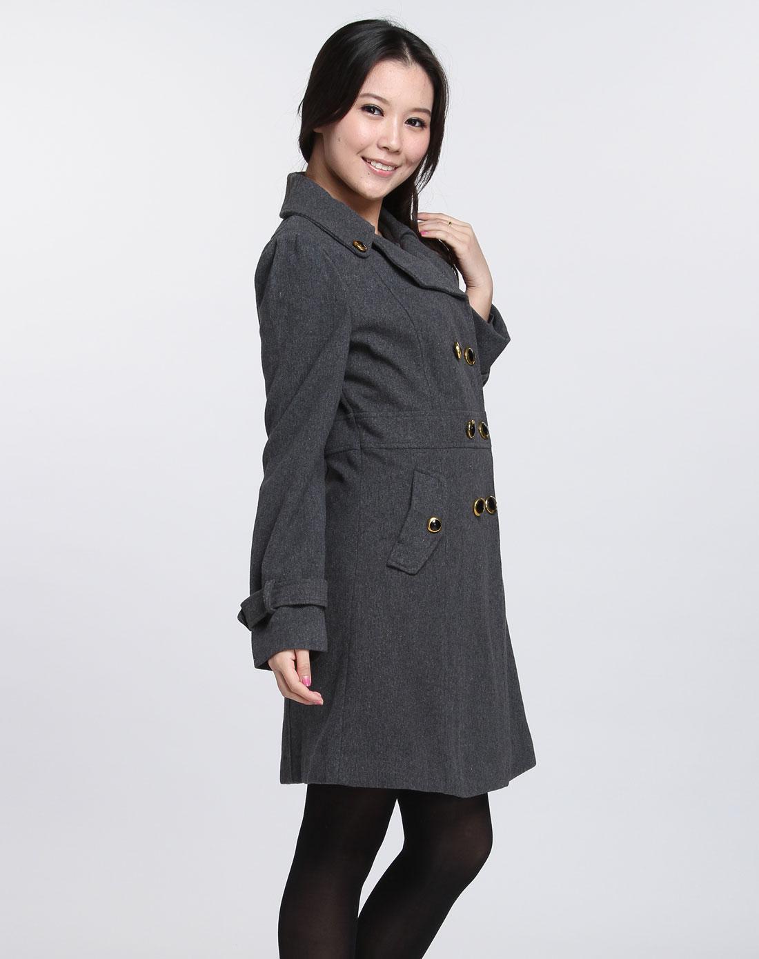 女款深灰色休闲长袖大衣
