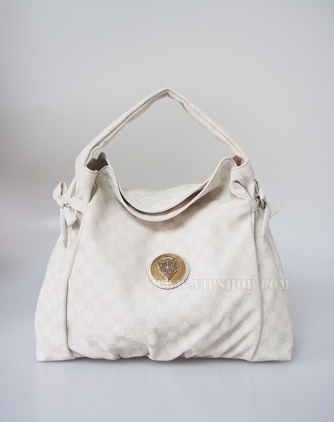 gucci 女款米白色经典花纹手提包