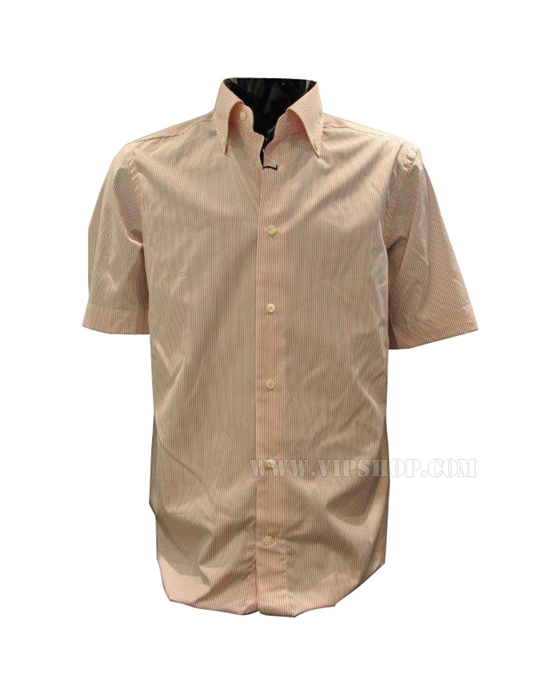 男士短袖衬衫白/橘红色8ms0l9