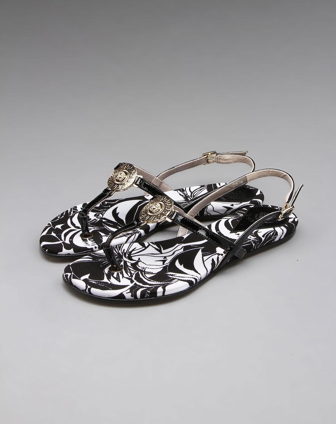 牛皮凉鞋黑/白色