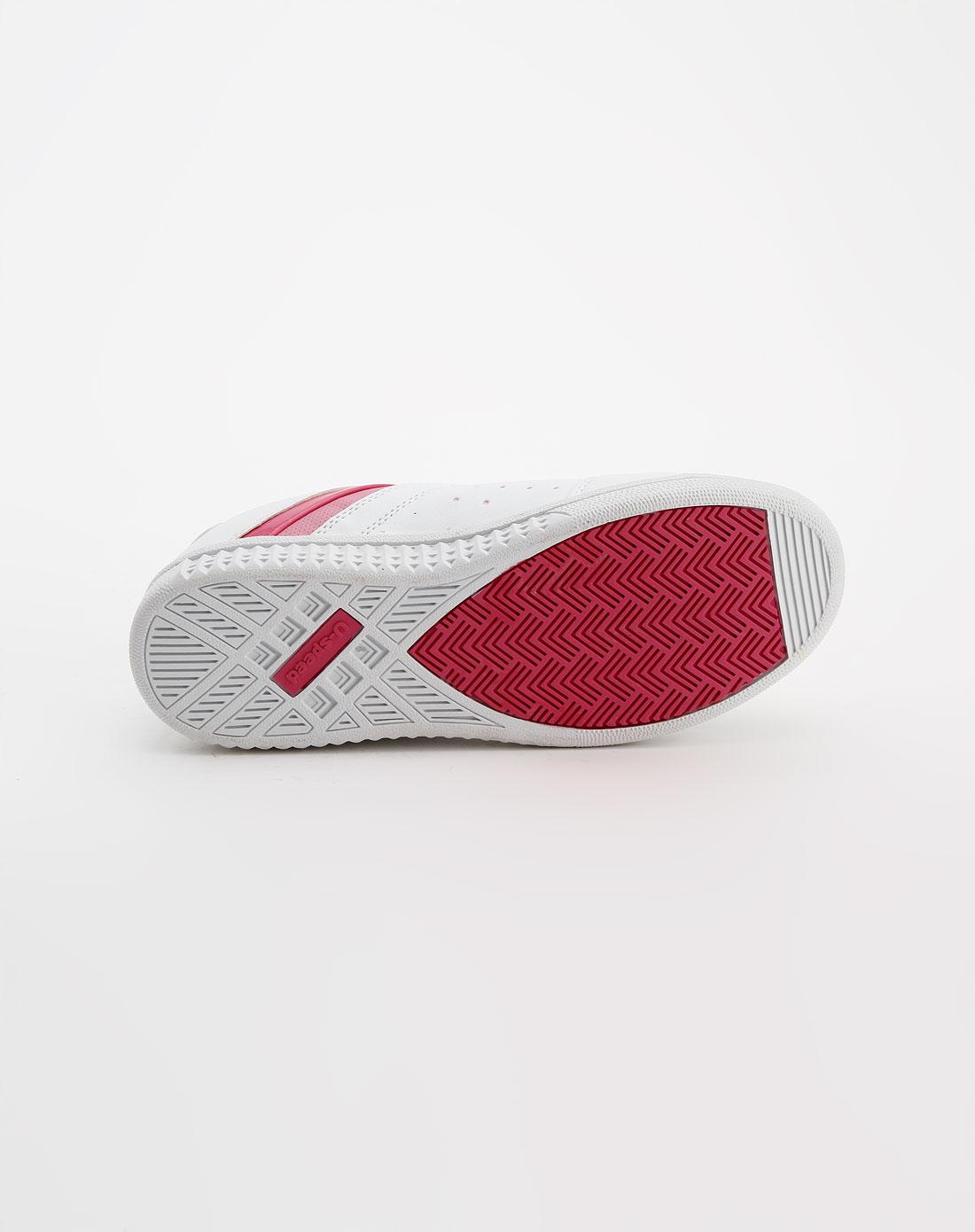 女童白/粉红色冲孔时尚板鞋