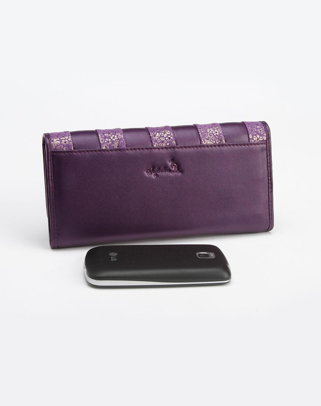 澳洲袋鼠austarlion紫色时尚长钱包