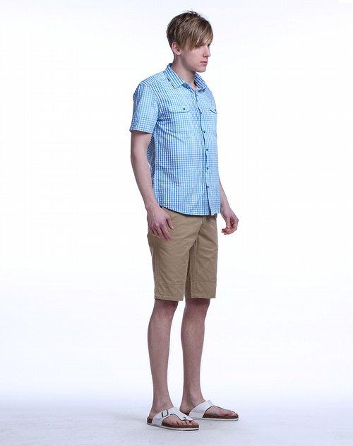 蓝色天空mbsky男装专场浅蓝色渐变细格短袖衬衫