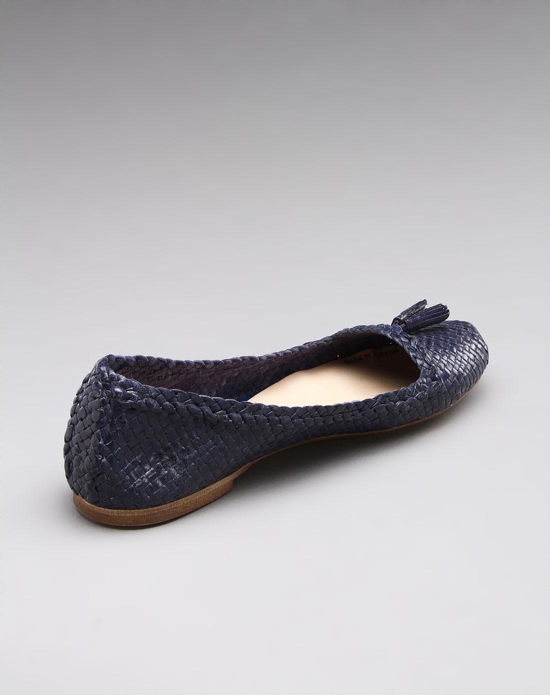女款精美编织牛皮平底鞋