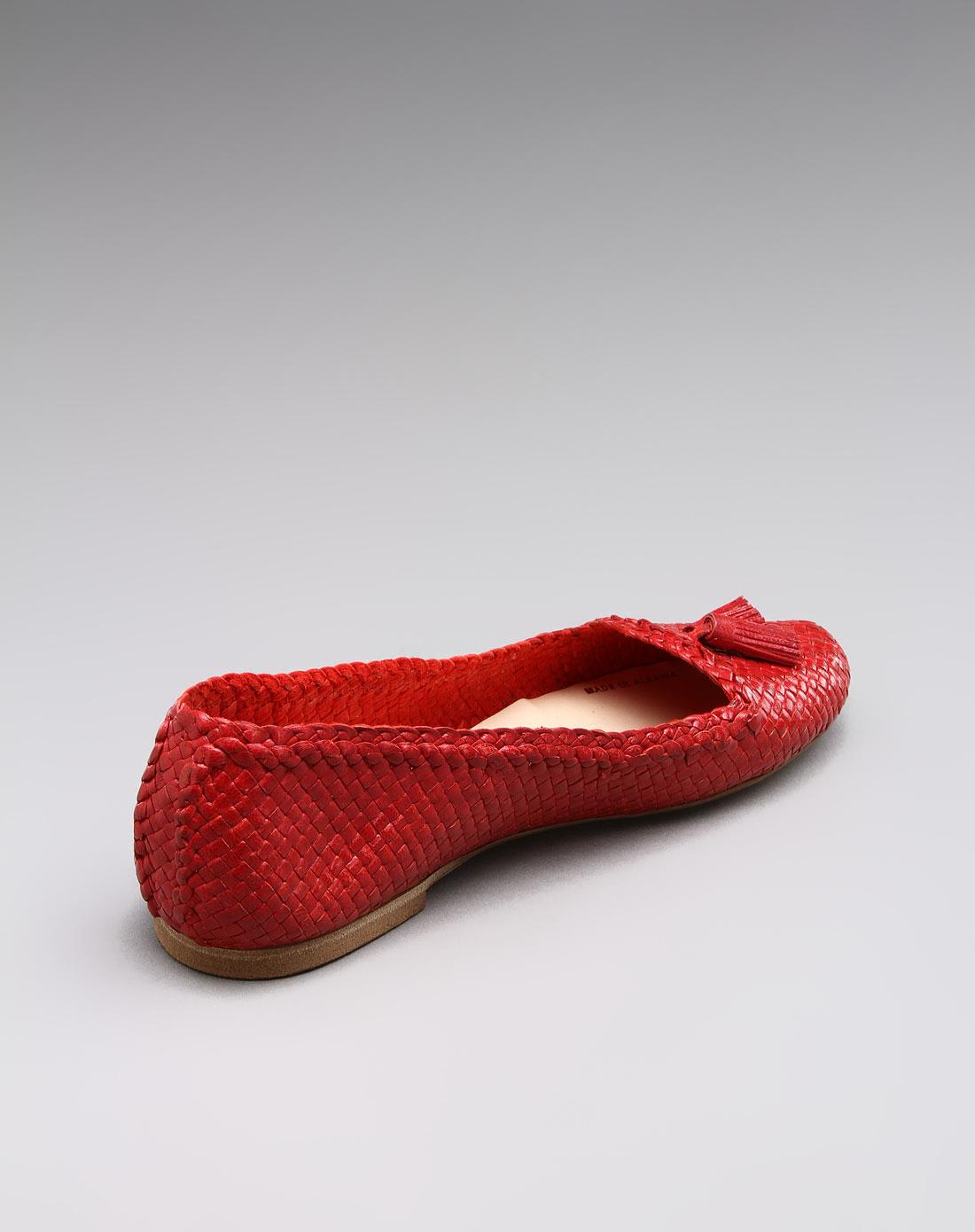 女款精致编织牛皮平底鞋f