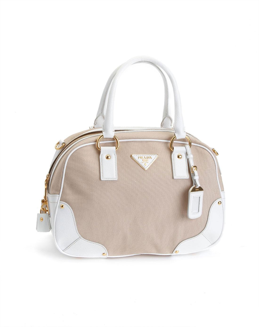 prada女款浅啡/白色休闲手提包