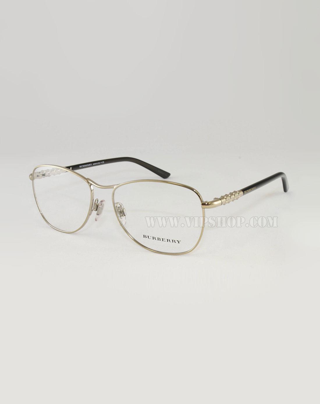 burberry 女款金属边框眼镜架淡金/黑色