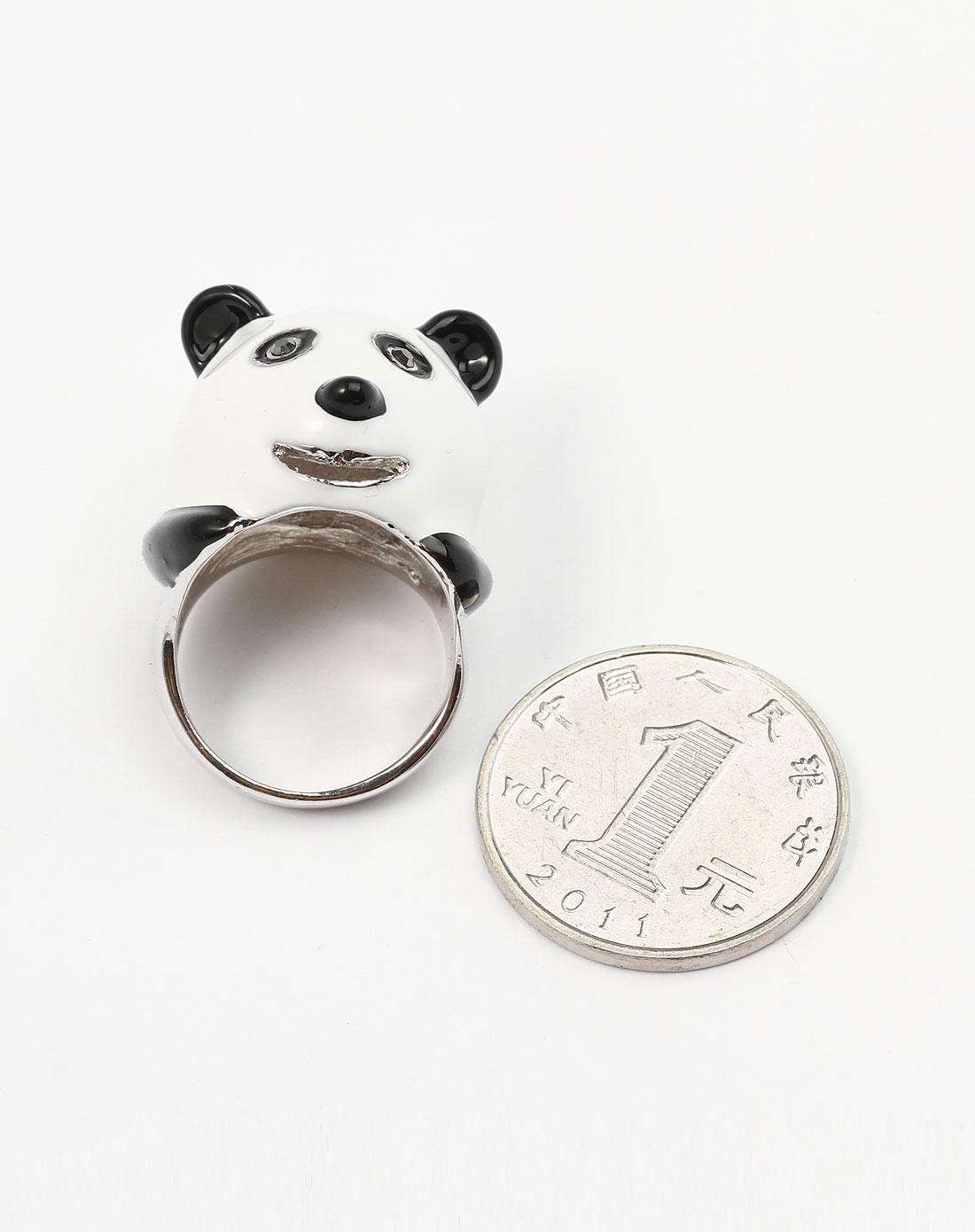 艾美emmy白/黑可爱熊猫头戒指