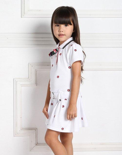 t100 女童白色匹绣polo裙