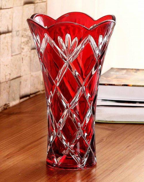 欧式复古水晶玻璃螺纹花瓶-三叶套红