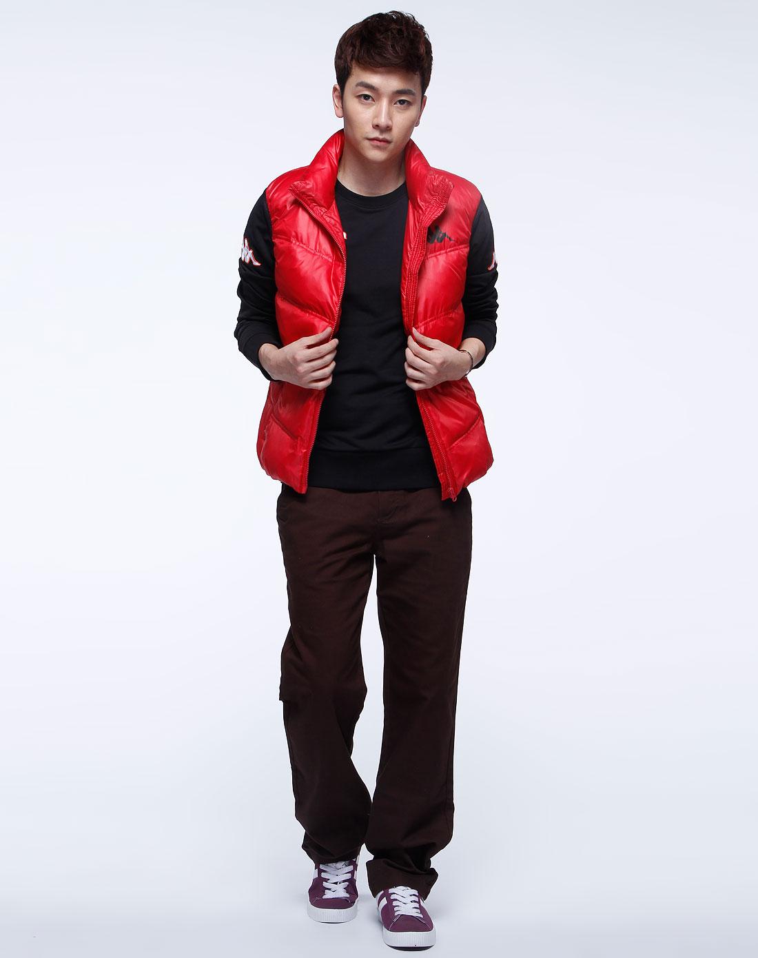卡帕kappa男装专场-红色时尚羽绒马甲