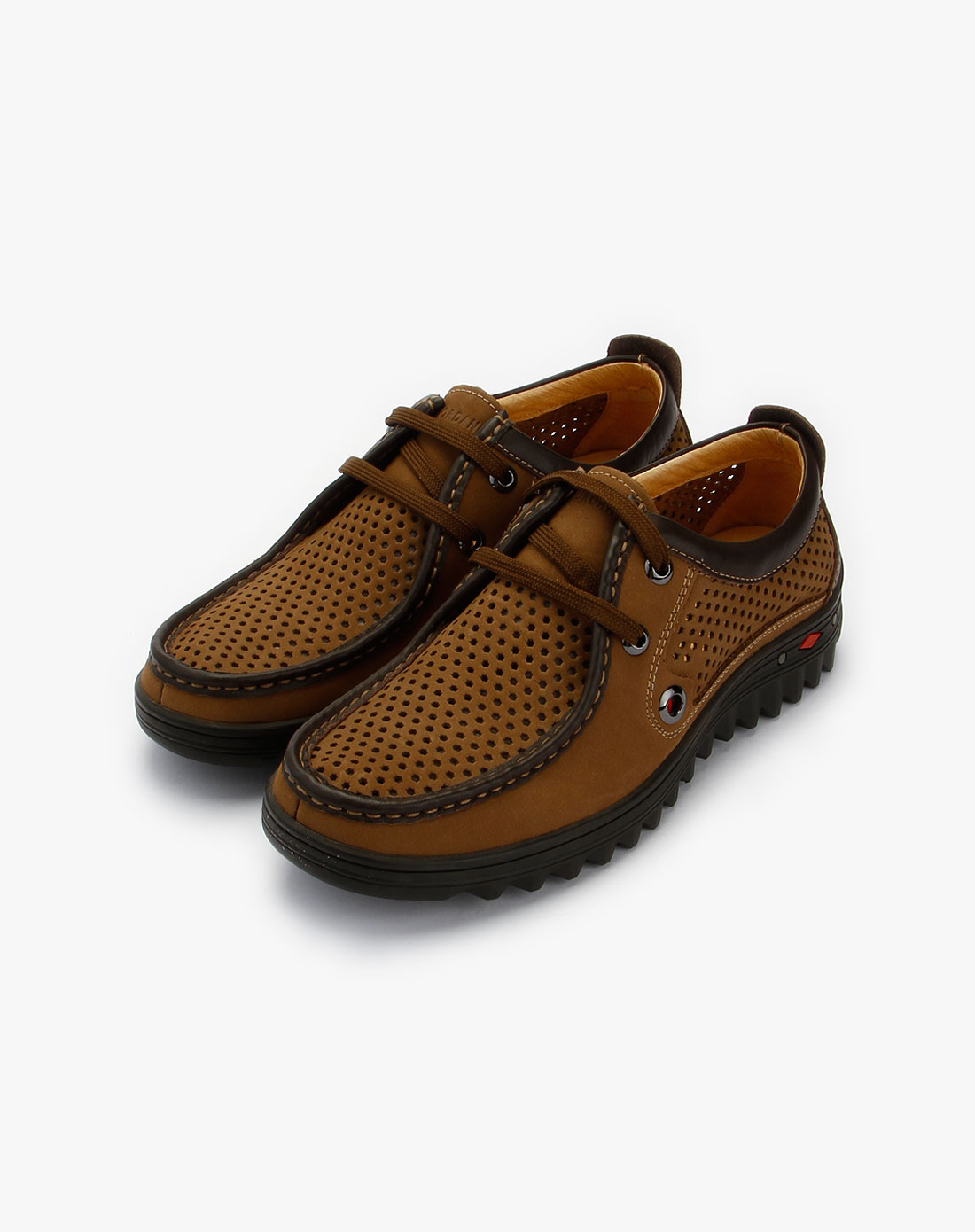 卡其/棕色镂空绑带休闲皮鞋