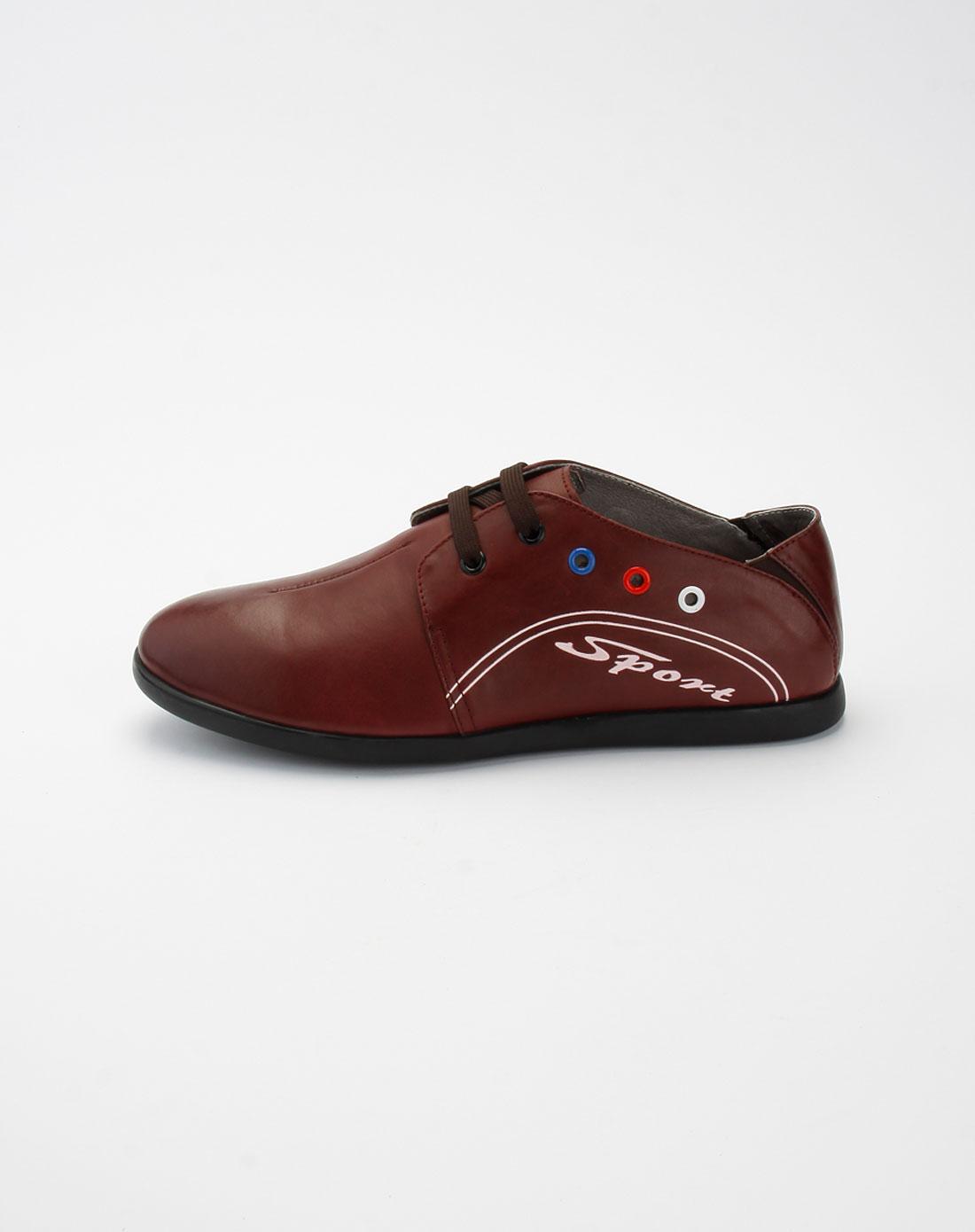 酒红色绑带时尚休闲皮鞋