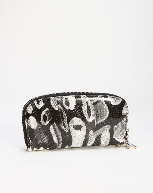 卡帝乐鳄鱼 女款黑白色印纹长款钱包